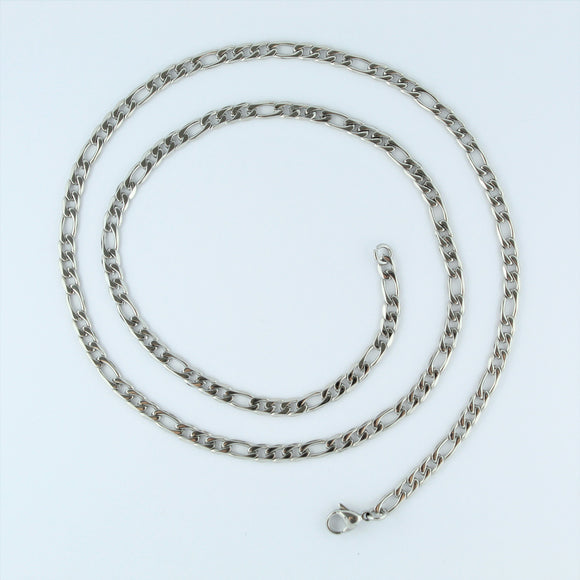Stainless Steel Figaro Chain 60cm