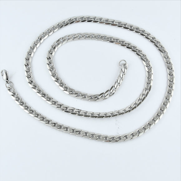 Stainless Steel Etched Flat Curb Chain 60cm