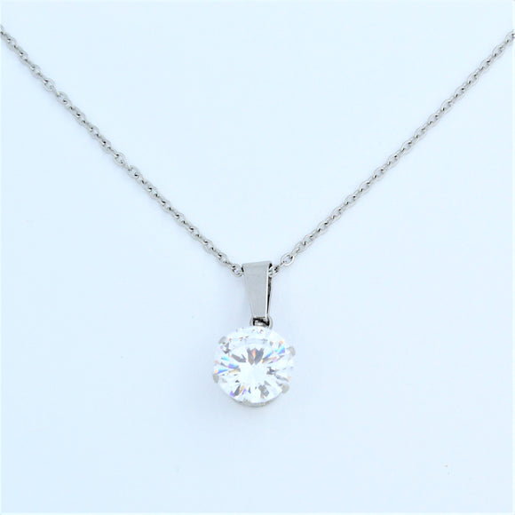 Stainless Steel 10mm Clear CZ On Chain 45cm