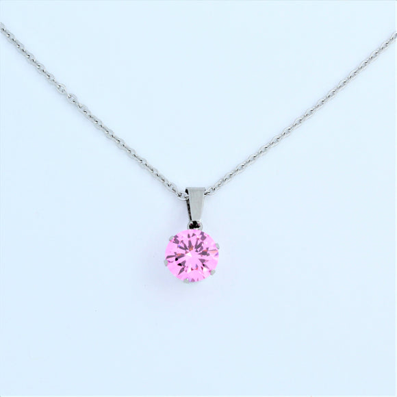 Stainless Steel 10mm Pink CZ On Chain 45cm