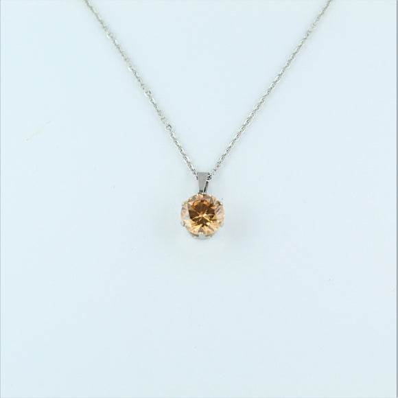 Stainless Steel 10mm Champagne CZ On Chain 45cm
