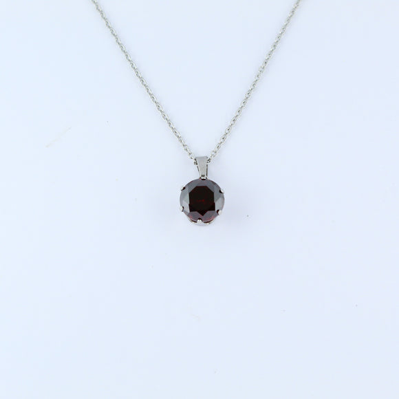 Stainless Steel 10mm Red CZ On Chain 45cm