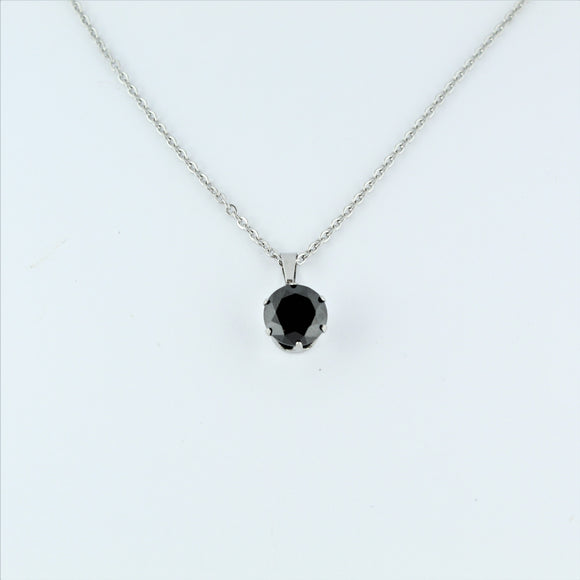 Stainless Steel 10mm Black CZ On Chain 45cm