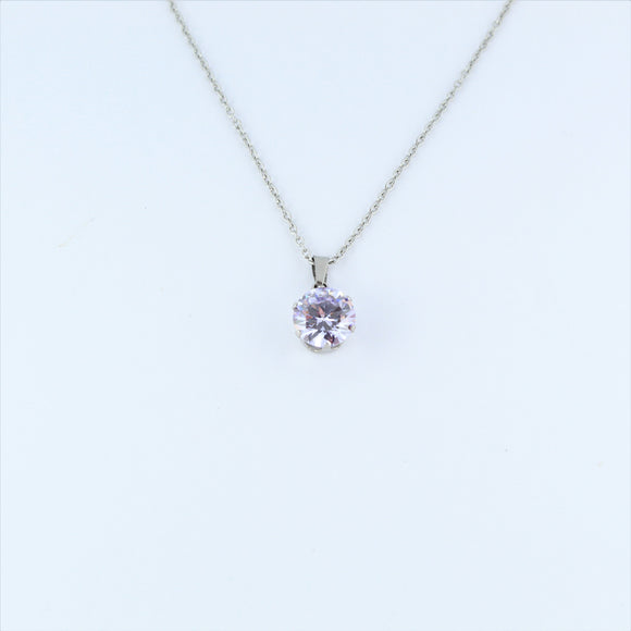 Stainless Steel 10mm Light Purple CZ On Chain 45cm