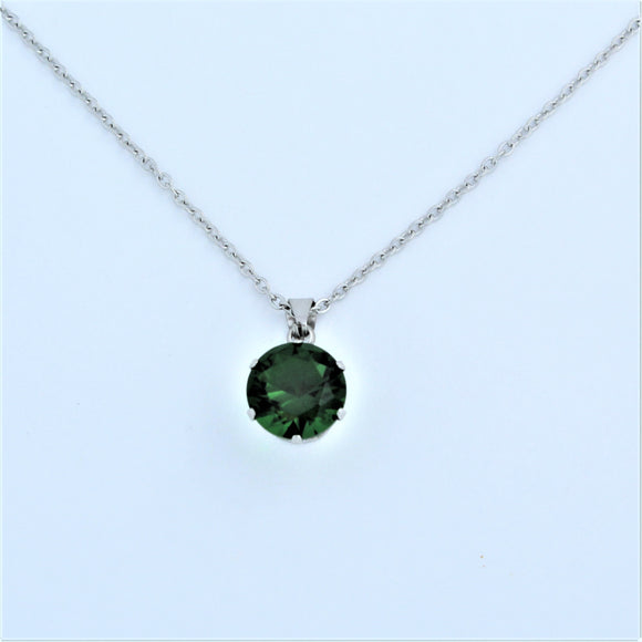 Stainless Steel 10mm Green CZ On Chain 45cm