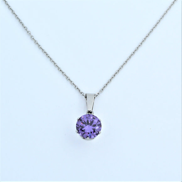 Stainless Steel 10mm Purple CZ On Chain 45cm