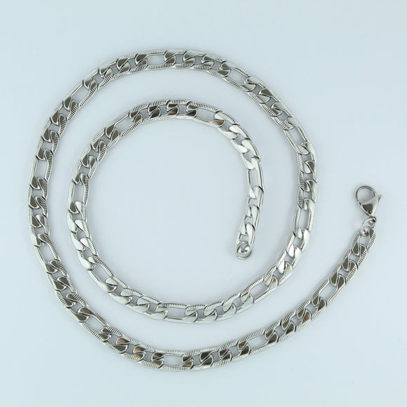 Stainless Steel Etched Figaro Chain 59cm