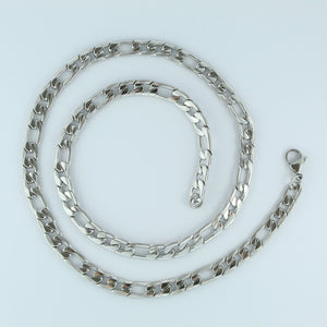 Stainless Steel Etched Figaro Chain 60cm