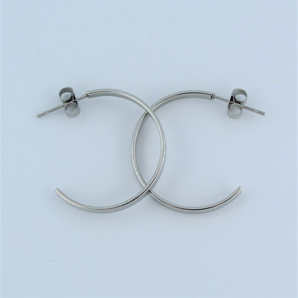 Stainless Steel 25mm Hoop Earrings