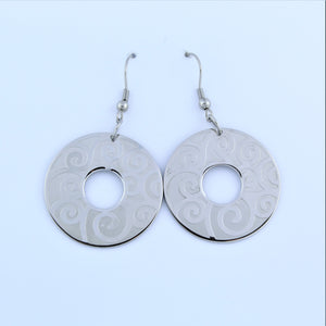 Stainless Steel Swirl Disc Drop Earrings
