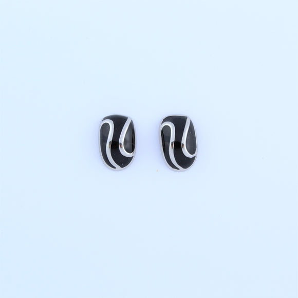 Stainless Steel Oval Black Enamel Swirl Earrings