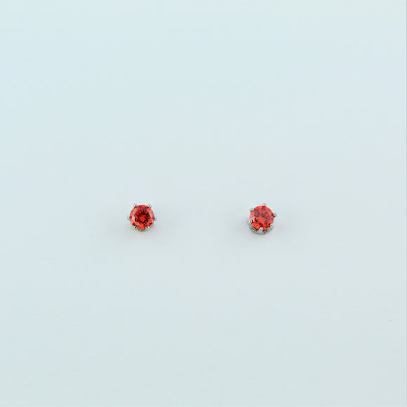 Stainless Steel 3mm Orange CZ Earrings