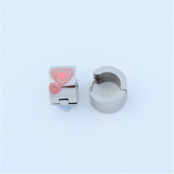 Stainless Steel Pink Hearts Huggie Hoop Earrings