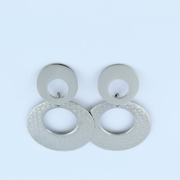 Stainless Steel Double Ring Drop Earrings