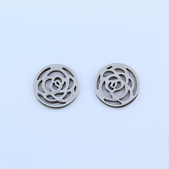 Stainless Steel Rose Disc Earrings