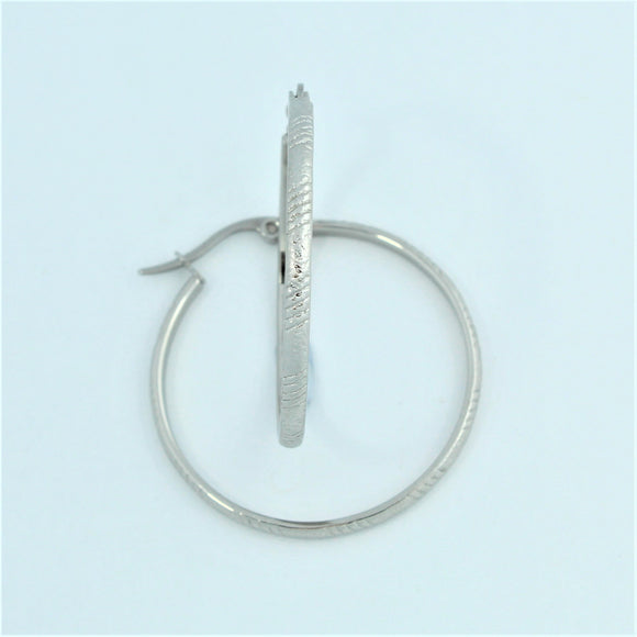 Stainless Steel 33mm Ridged Hoop Earrings