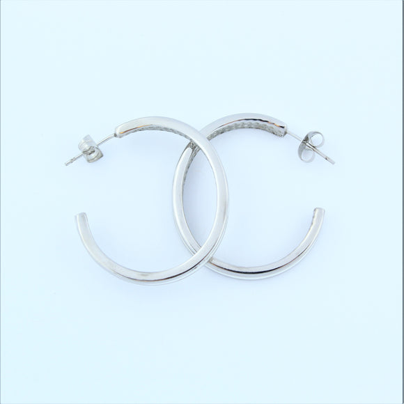 Stainless Steel 33mm White Enamel Hoop Earrings