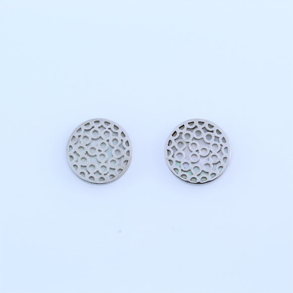 Stainless Steel Bubble Disc Earrings