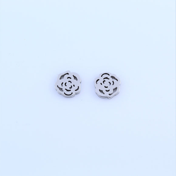 Stainless Steel Open Rose Earrings