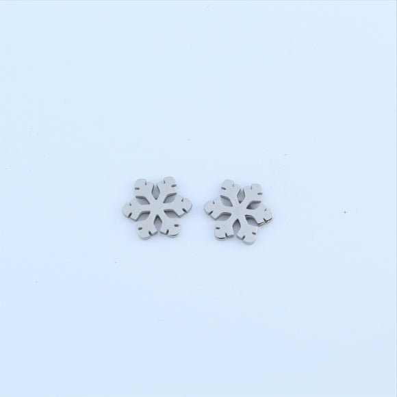 Stainless Steel Snowflake Earrings