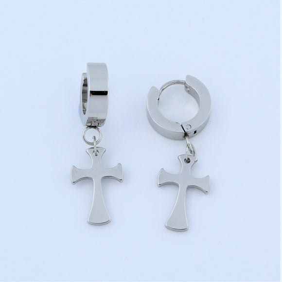 Stainless Steel Huggie Hoop With Cross Earrings