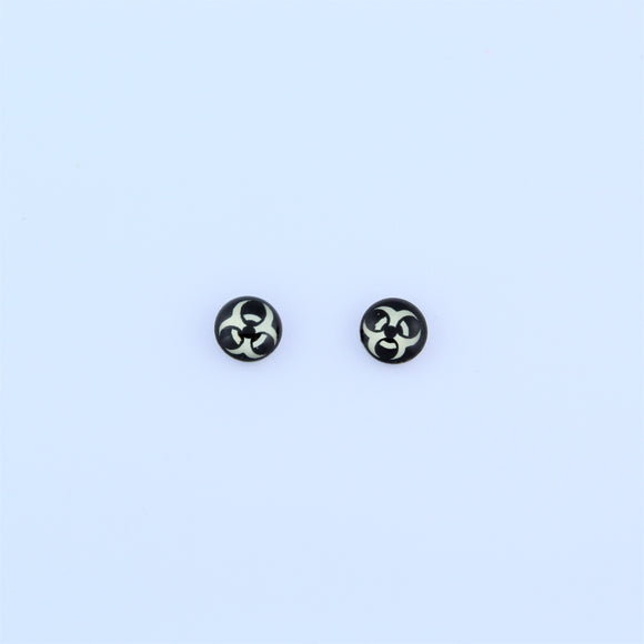 Stainless Steel 7mm Biohazard Earrings