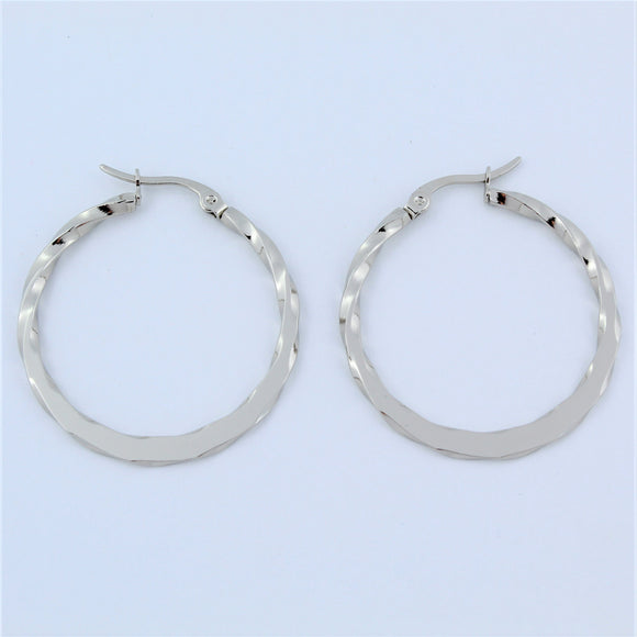 Stainless Steel 34mm Flat Twist Hoop Earrings