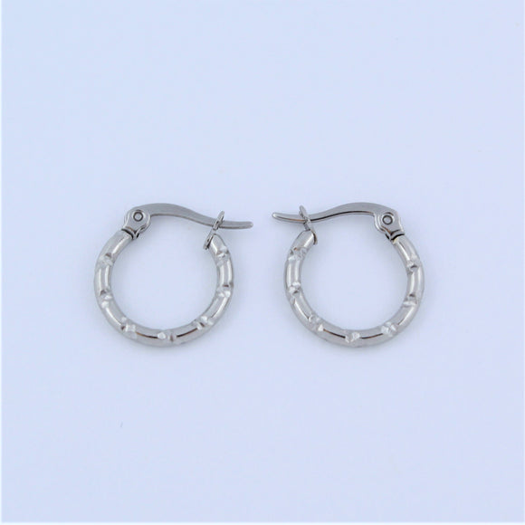 Stainless Steel 15mm Bamboo Hoop Earrings