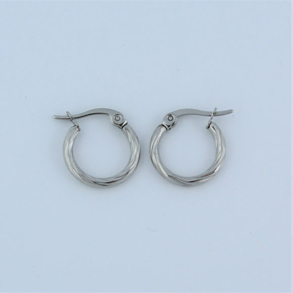 Stainless Steel 15mm Twist Hoop Earrings