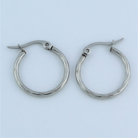 Stainless Steel 20mm Twist Hoop Earrings
