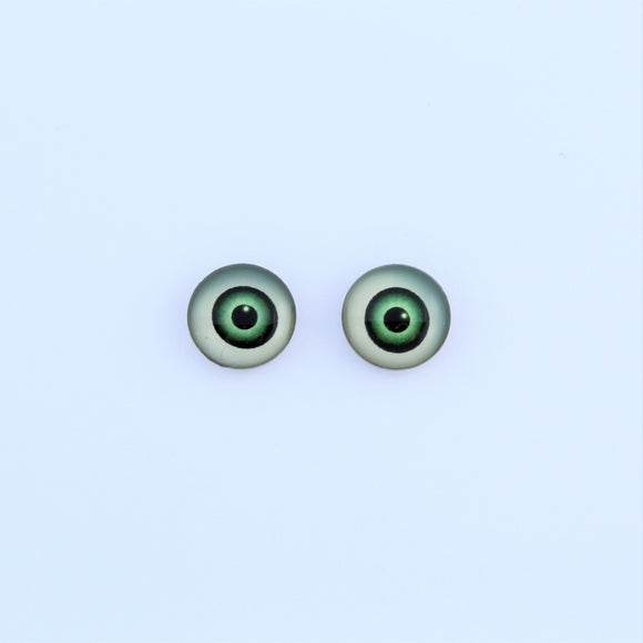 Stainless Steel 10mm Green Eyes Earrings