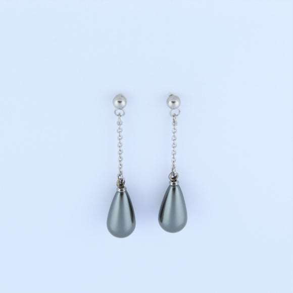 Stainless Steel Grey Tear Drop Earrings