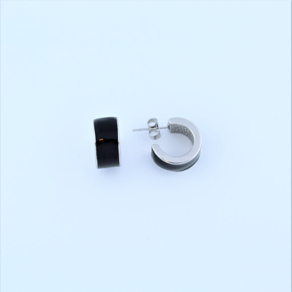 Stainless Steel Black Enamel Hoop Earrings