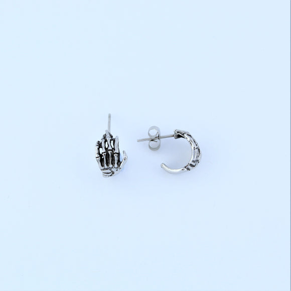 Stainless Steel Skeleton Hand Hoop Earrings