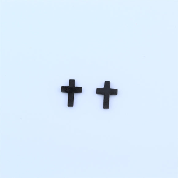 Stainless Steel Black Cross Earrings