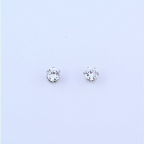 Stainless Steel 4mm Clear CZ Earrings