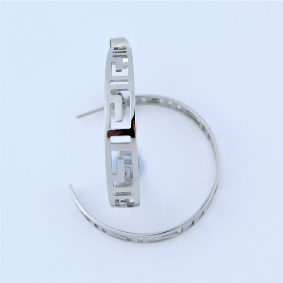 Stainless Steel 32mm Greek Hoop Earrings