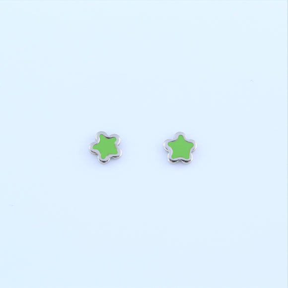 Stainless Steel Green Star Earrings