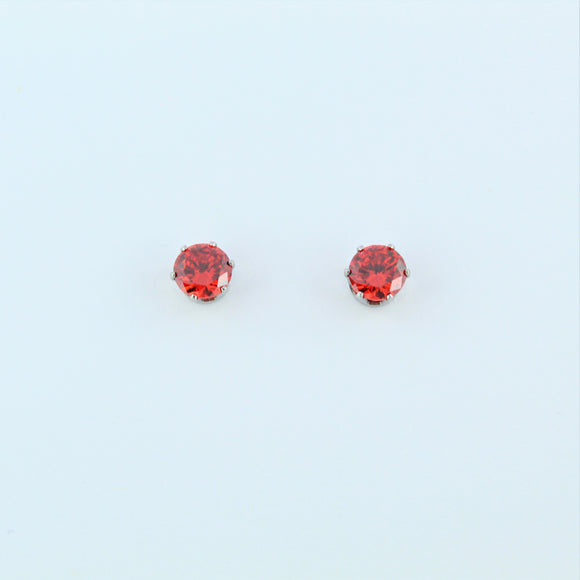 Stainless Steel 5mm Orange CZ Earrings