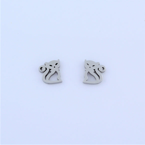 Stainless Steel Sitting Cat Earrings