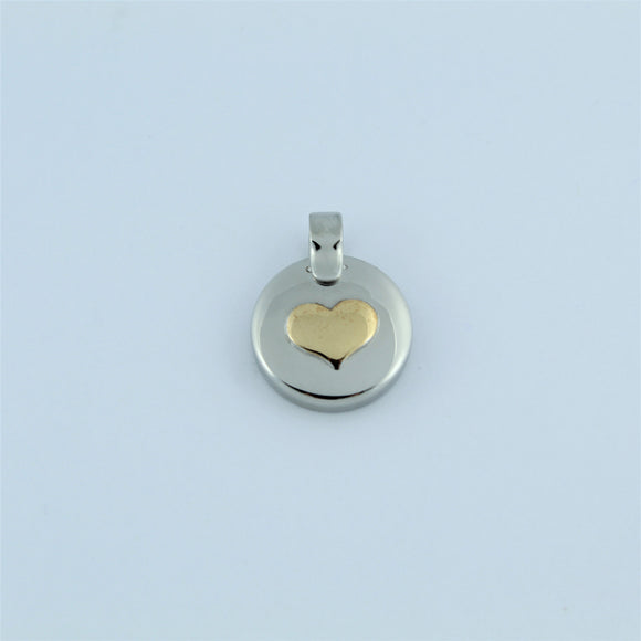 Stainless Steel Two Tone Heart Disc Pendant