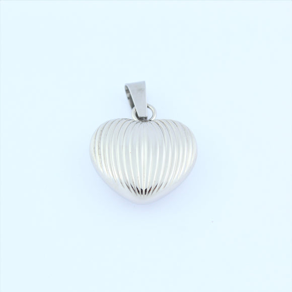 Stainless Steel Ridged Hollow Heart Pendant