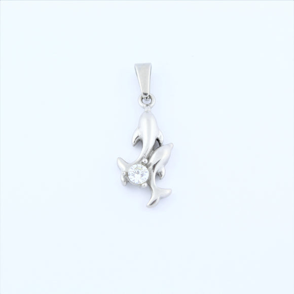 Stainless Steel Double Dolphin With CZ Pendant