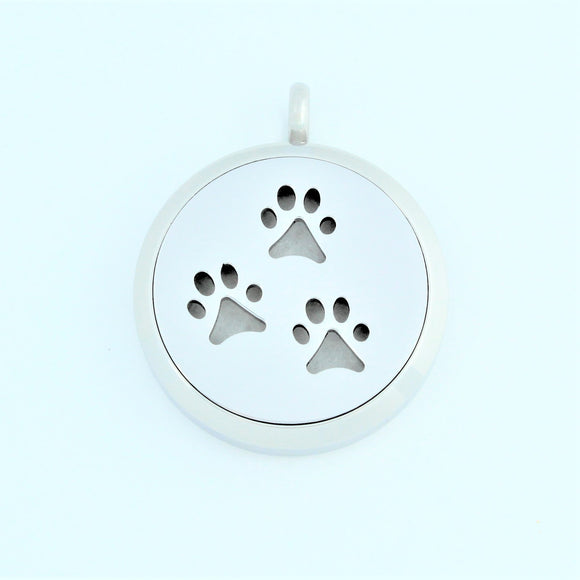 Stainless Steel 3 Paw Prints Scent Pendant