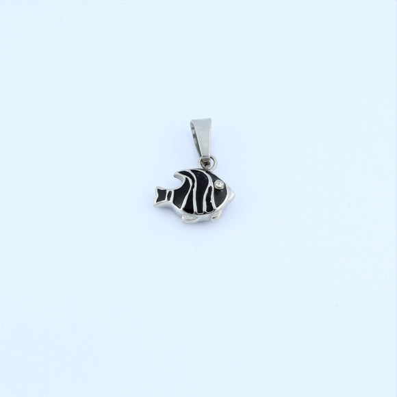Stainless Steel Black Fish Pendant