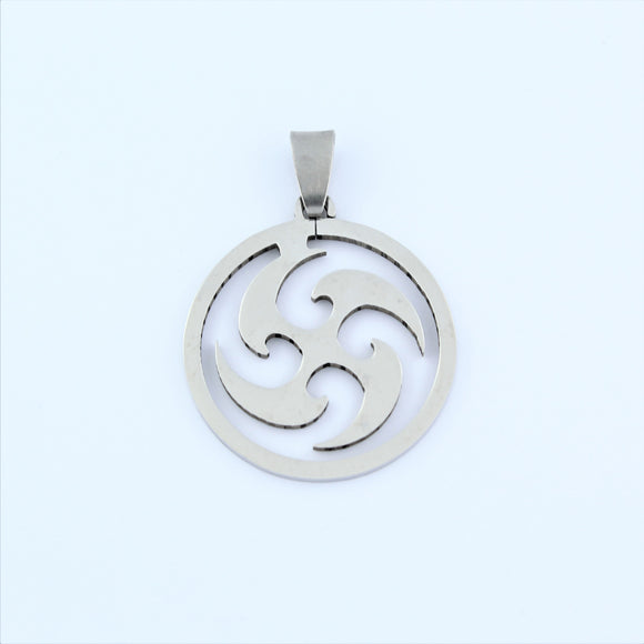Stainless Steel Tribal Disc Pendant