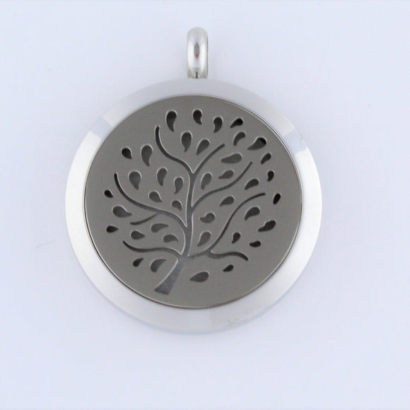 Stainless Steel Tree with Leaves Scent Pendant