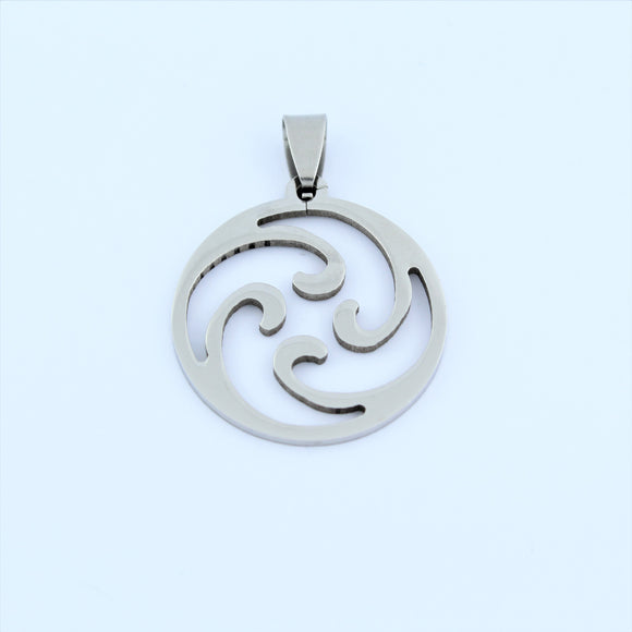 Stainless Steel Tribal Disc Pendant 4
