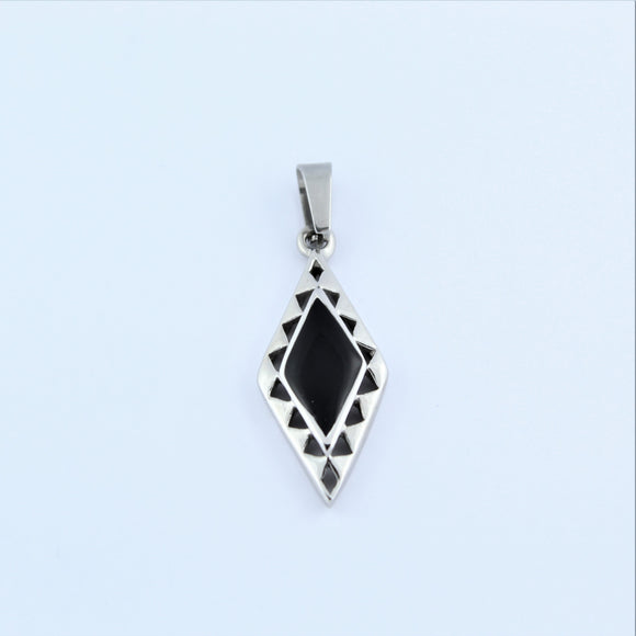 Stainless Steel Diamond Shape With Black Enamel Pendant