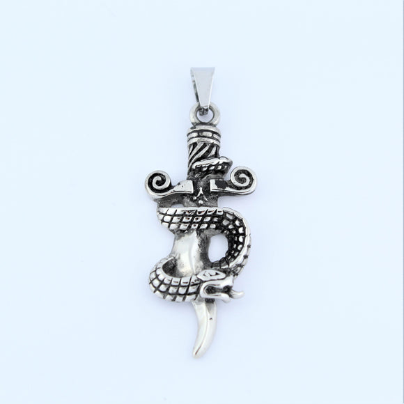 Stainless Steel Sword With Snake Pendant